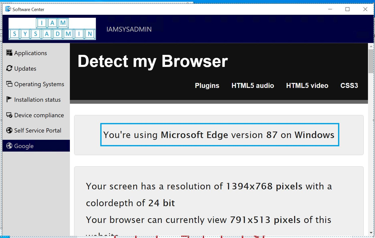 Software Center customization: Display custom tabs with Microsoft Edge WebView2 runtime